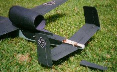 Tail of He162 RC EDF model airplane