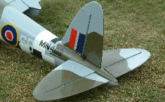 electric RC Mosquito model airplane tail surfaces